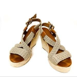 Banana Republic Faux Leather Woven Strap Wedges